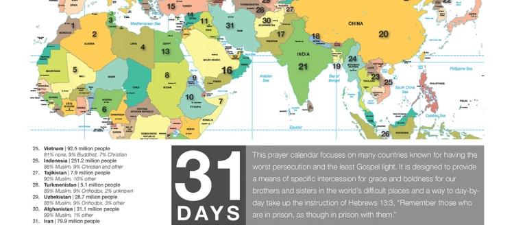 World Map for prayer